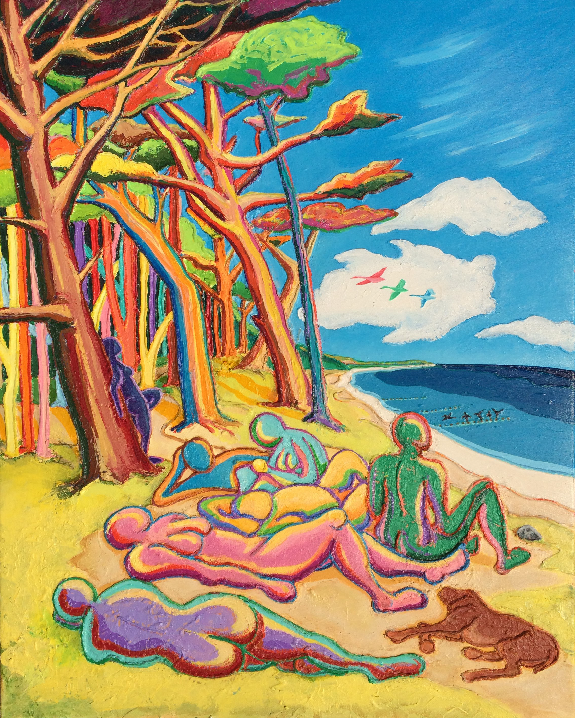 Waiting for God - Colourful Beach Painting on Canvas