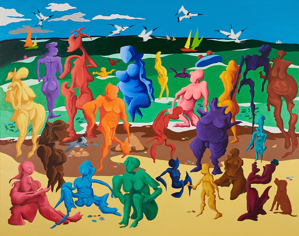 A Stranger Walks Amongst Us - Bright & Colourful Beach Painting using Acrylic on Canvas