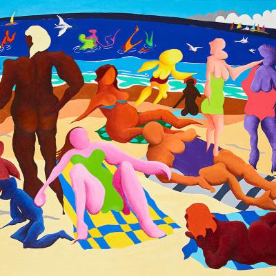 The Conversation: Colourful Beach Painting using Acrylic on Canvas