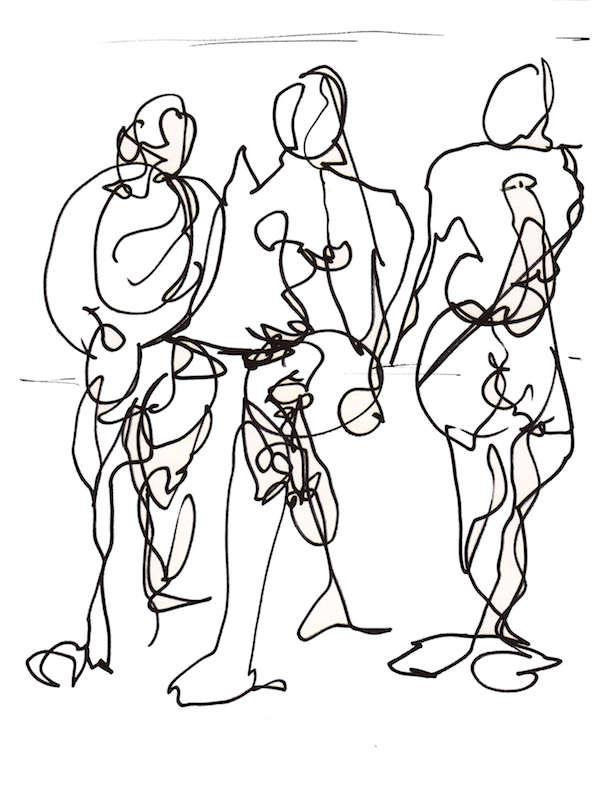 Sketch: Group of Men - Baltic Beach