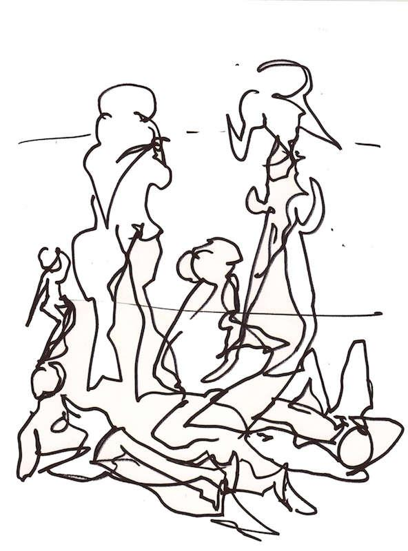 Sketch: Group of Women - Baltic Beach