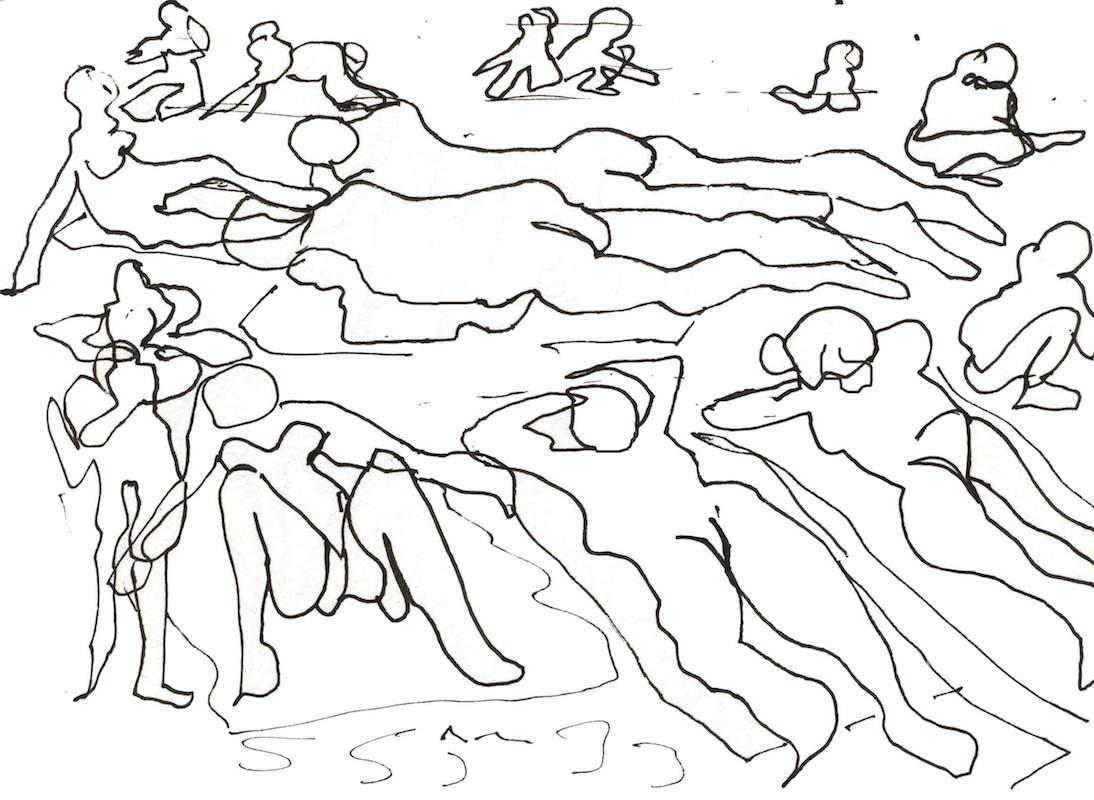 Sketch: Sunbathers - Baltic Beach