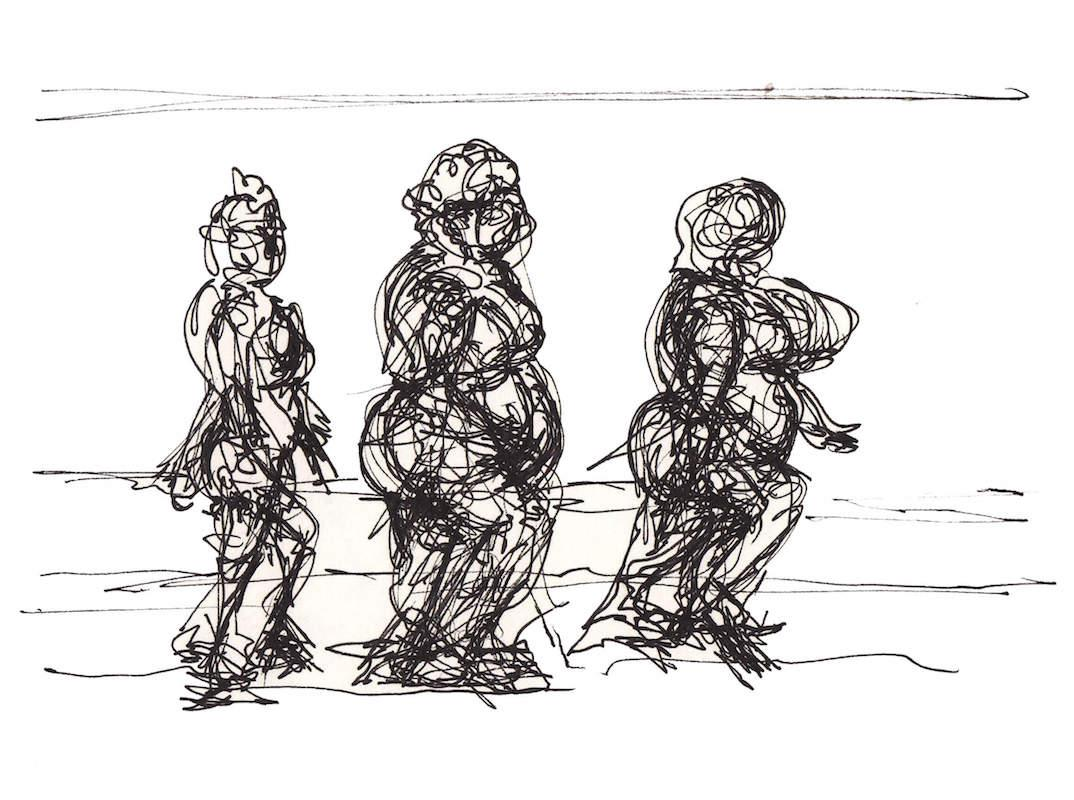 Sketch: Women Walking Along Shoreline - Baltic Beach